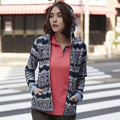 【Wildland 荒野】女彈性針織功能印花外套藍