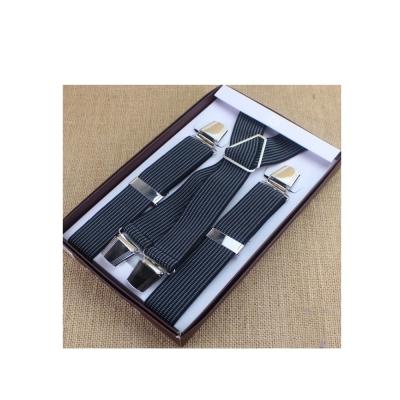 拉福  吊帶X夾紳士吊帶附紙盒(灰直紋.深藍)