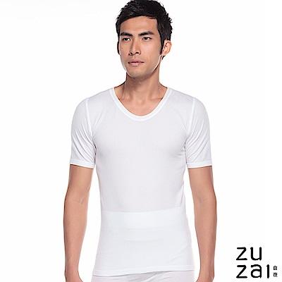 zuzai 自在親膚羽感短袖保暖衣-男-白色