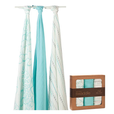美國 aden+anais新生兒絲柔(竹纖維)包巾3入-碧藍幾何系列AA9205