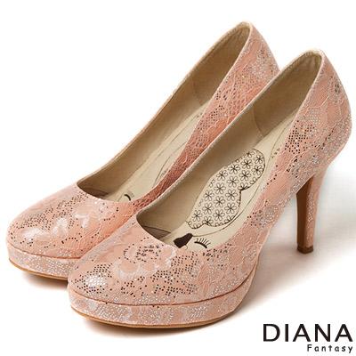 DIANA 超厚切LADY款--法式蕾絲晚宴跟鞋-粉
