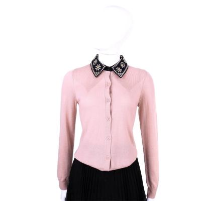 MOSCHINO 粉紅色花綴飾領純羊毛小外套
