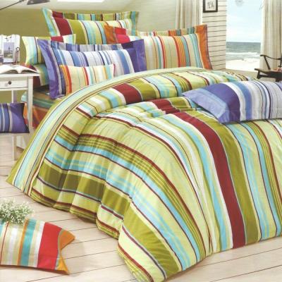 艾莉絲-貝倫 幾何線條 高級混紡棉 四件式雙人加大鋪棉兩用被床包組