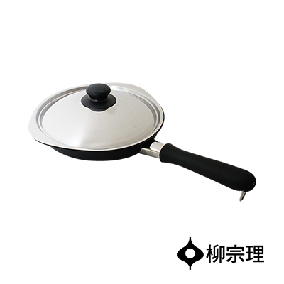 日本柳宗理-岩紋單手鐵鍋25cm-附蓋