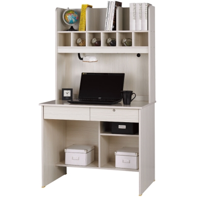 AT HOME-金點將雪山白二抽書桌(上+下) 91x60x164 cm