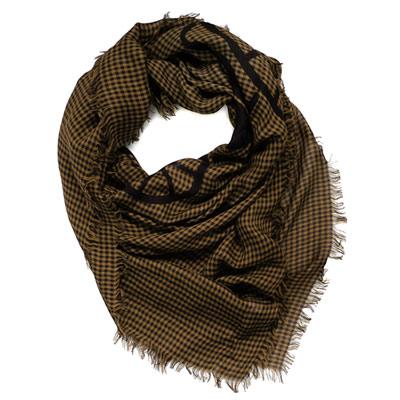 COACH棕黑細格紋馬車大圖披肩式圍巾140x124