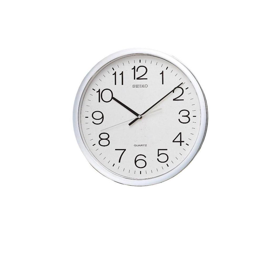 SEIKO 精工 銀框 標準型 辦公室掛鐘(QXA041S)-白/40cm