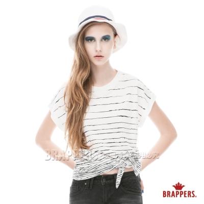 BRAPPERS-女款-條紋印花綁帶短袖丅恤-白底