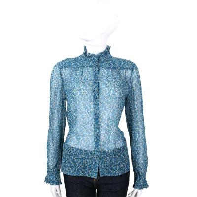 PHILOSOPHY 藍色碎花雪紡皺褶立領長袖襯衫
