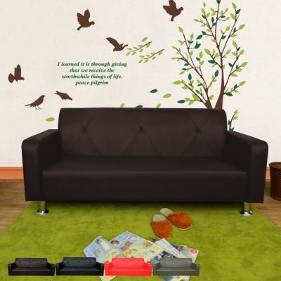 時尚屋 東京都會風三人座6尺鐵腳沙發 多色可選 寬180cm-免組