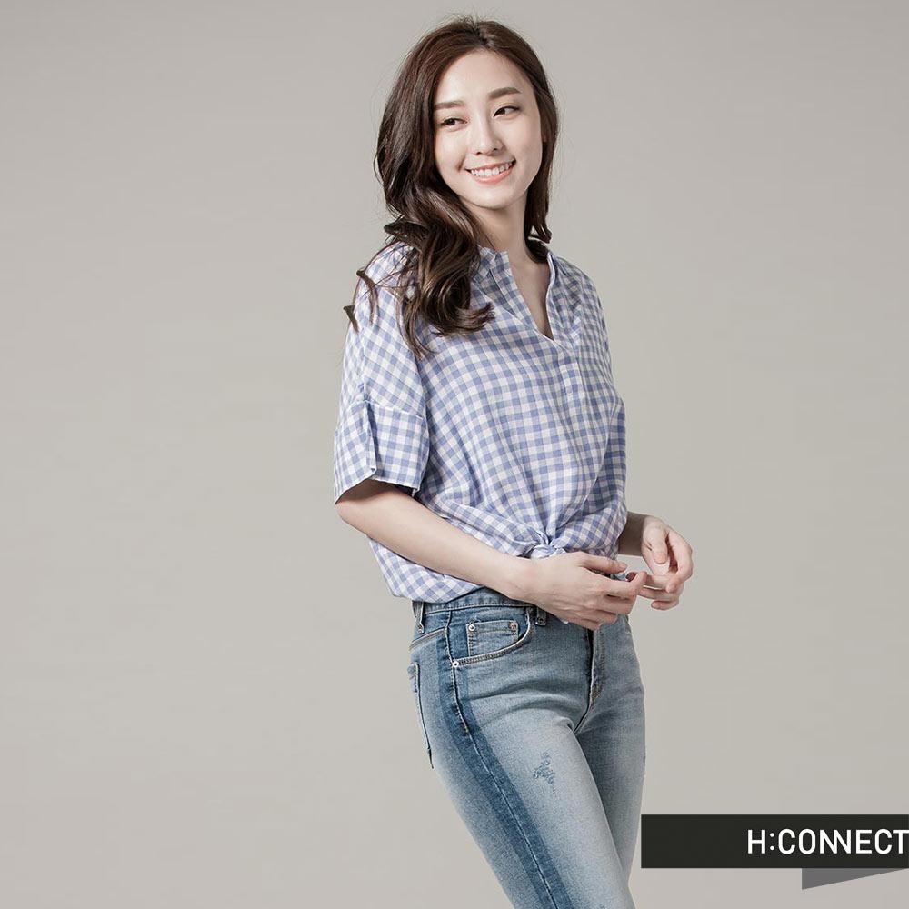 H:CONNECT韓國品牌女裝開襟格紋長版襯衫藍