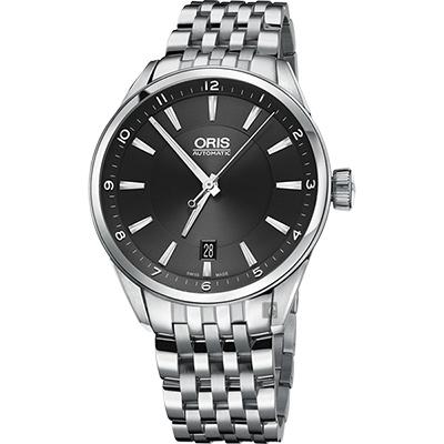 ORIS豪利時 ARTIX DATE 日期機械錶-黑x銀/39mm