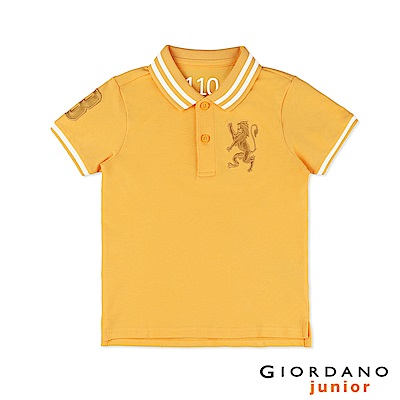 GIORDANO  童裝勝利獅王3D刺繡短袖POLO衫-28 水仙花黃