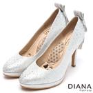DIANA 漫步雲端LADY系列--水鑽蝴蝶結亮面星鑽跟鞋-銀