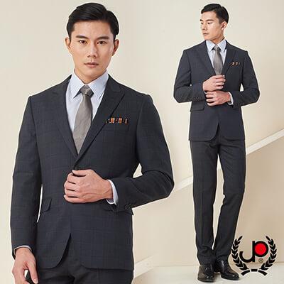 極品西服-簡約紳士羊毛格紋小劍領西裝_灰(AS606-3G)