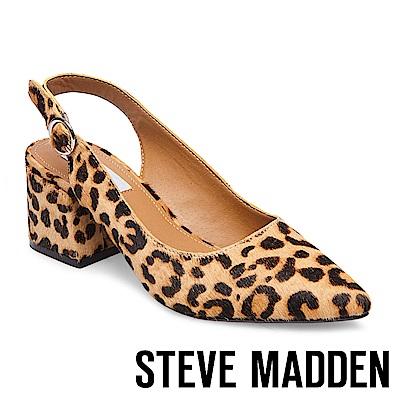 STEVE MADDEN-DIZZY-L 馬毛尖頭粗跟涼鞋-豹紋