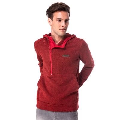 【hilltop山頂鳥】男款連帽半開襟拉鍊保暖刷毛上衣H51MF4紅