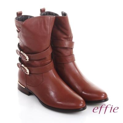 effie 保暖靴 真皮弧線靴口飾釦奈米中長靴 茶色