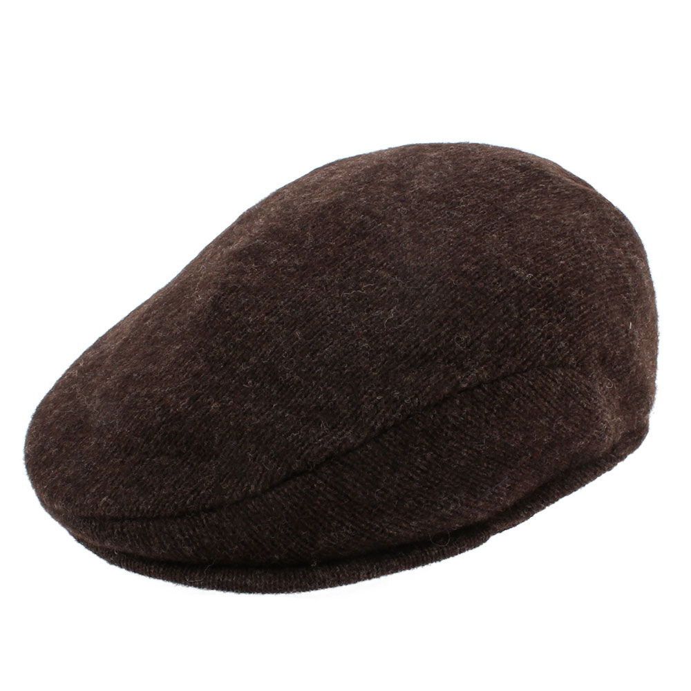 RALPH LAUREN POLO 簡約單色混羊毛扁帽-咖啡色