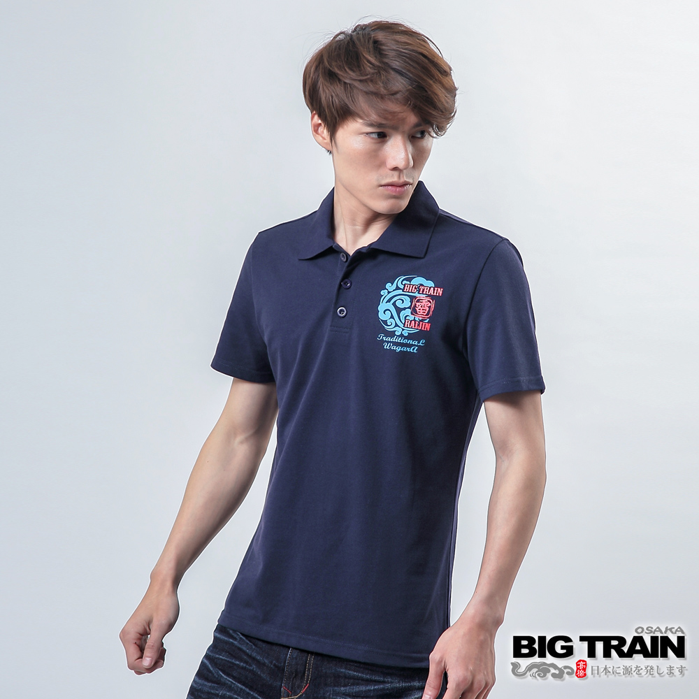 BIG TRAIN雷神雙鯉魚POLO衫-男-丈青