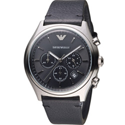 Emporio ARMANI 亞曼尼 計時時尚腕錶-黑/43mm