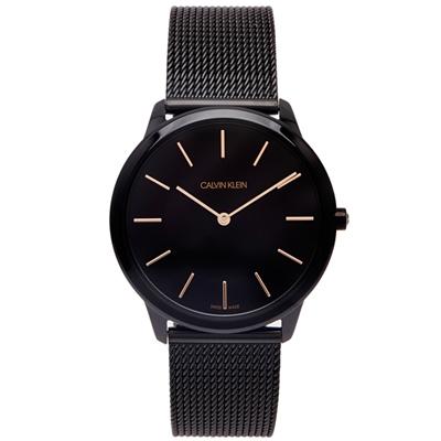 CK Calvin Klein 黑時尚風米蘭帶手錶(K3M21421)-黑面/39mm