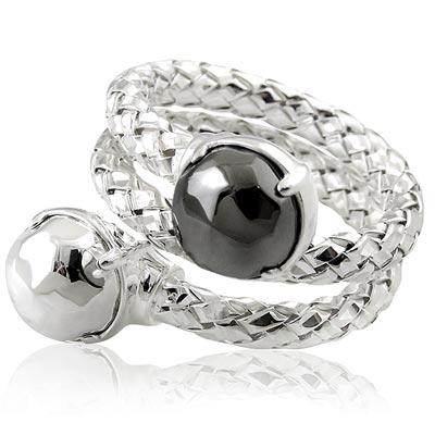 MONT BLANC 萬寶龍 銀色編織雙圈造型純銀戒指- 52 號