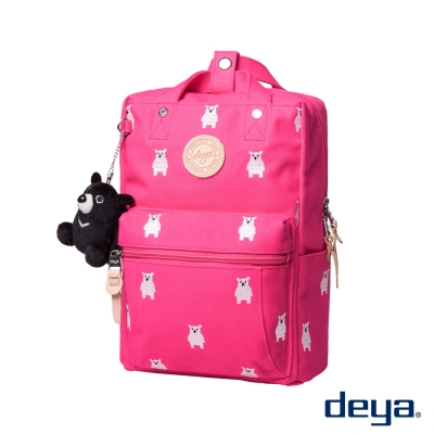 deya 熊後背包(小)-桃紅色 台灣頂級帆布刺繡 MIT台灣製造 加贈deya熊玩偶