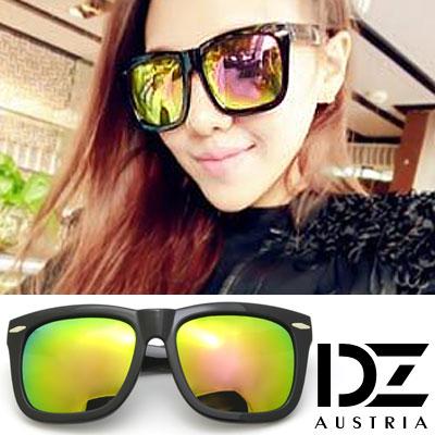【2件59折】DZ 時髦橫菱釘 抗UV太陽眼鏡 墨鏡(綠彩虹膜)