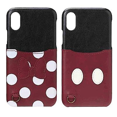 【日本 PGA-iJacket】iPhone X迪士尼皮革口袋造型硬式背蓋