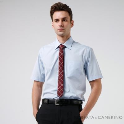 ROBERTA諾貝達 台灣製 舒適易整燙 修身版 素色短袖襯衫 藍色