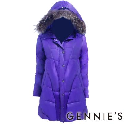 Gennies奇妮-經典時尚羽絨大衣外套 (H6203-)紫-M