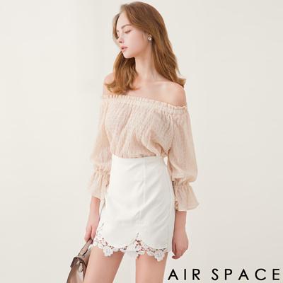 AIR SPACE 抓皺壓紋縮袖一字領上衣(粉紅)