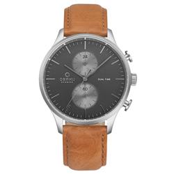 OBAKU 流轉光年雙時區皮帶錶-V196GUCURZ/42mm