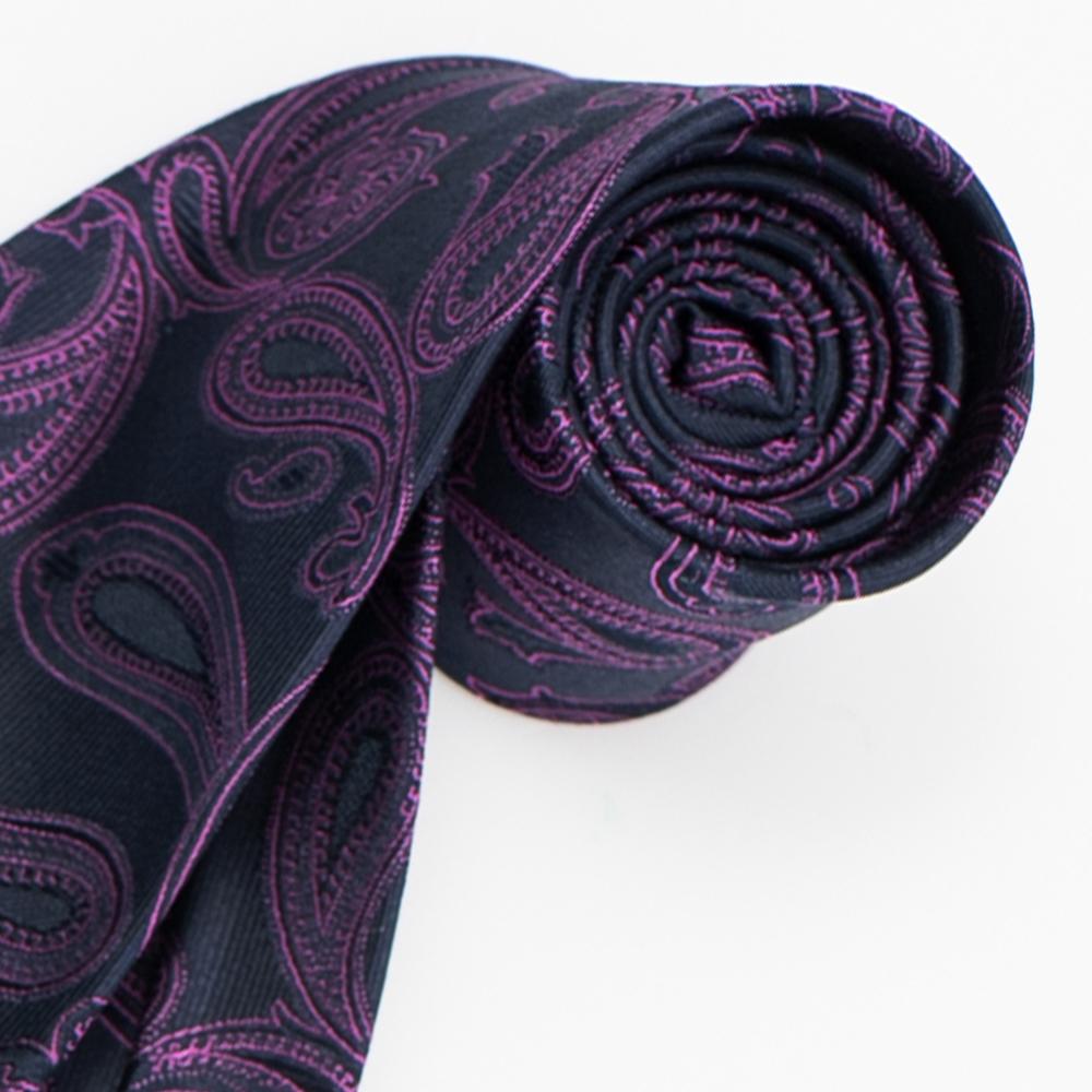 極品西服 經典品味絲100%格紋領帶_藍底紫提花(YT5023)