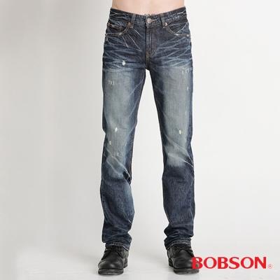 BOBSON 男款貓鬚立體壓摺直筒褲