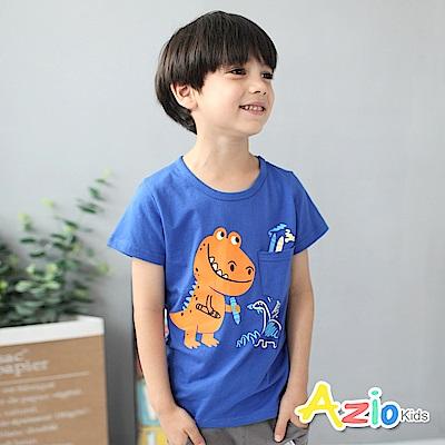 Azio Kids 童裝-上衣 橘色蠟筆恐龍單口袋短袖T恤(藍)