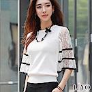 針織鏤空蕾絲彈力柔軟顯瘦寬袖圓領質感上衣LIYO理優S-XL