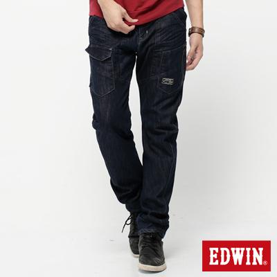 EDWIN 低調簡潔 E-F 貼袋機能3D窄直筒牛仔褲-男款(原藍色)