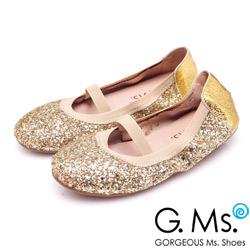 G.Ms.童鞋-璀璨亮片鬆緊口可攜式娃娃鞋(附鞋袋)-奢華金