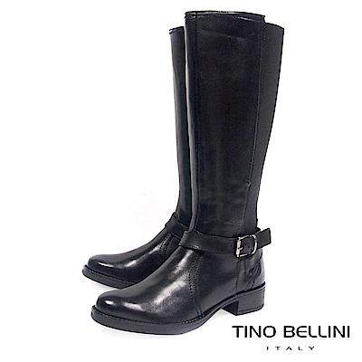 Tino Bellini 歐洲進口英氣拼接彈力布平底長靴_ 黑