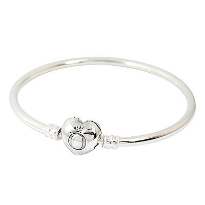 Pandora 潘朵拉 標誌愛心釦 925純銀硬環手環