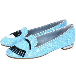 Chiara Ferragni Flirting 新版眨眼亮片拼接樂福鞋(天空藍)