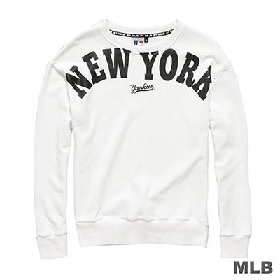 MLB-紐約洋基隊大圖印花長袖厚T恤-白-女