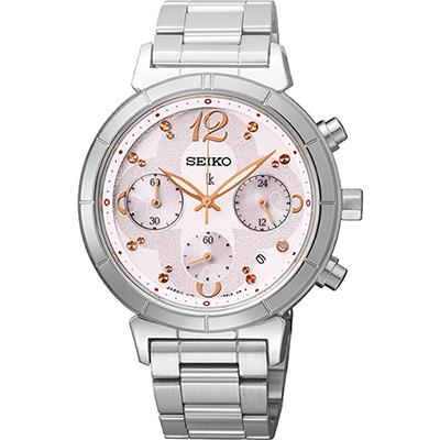 SEIKO LUKIA 花漾綻放太陽能計時碼錶(SSC857J1)-粉紅/35mm