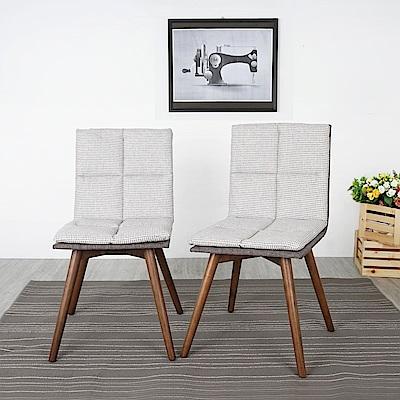 Homelike 布爾千鳥格低背餐椅-二入組(可可棕)-52x55x87cm