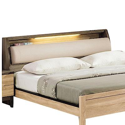 品家居 芭拉6尺橡木紋皮革雙人加大床頭箱-187.9x29.7x91.2cm免組