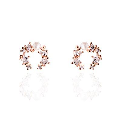 微醺禮物 耳環 正韓 銀針 鍍K 小星星鋯石排列 鑲珍珠 耳針 耳環