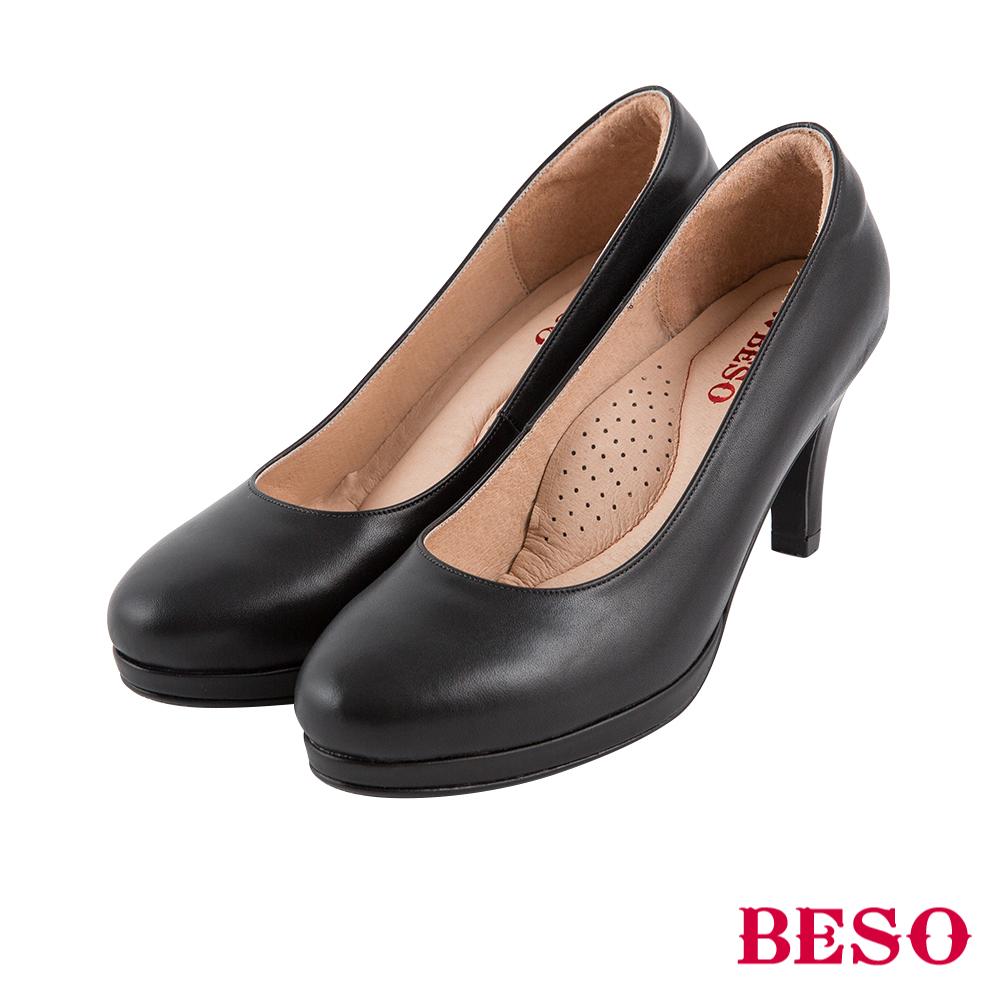 BESO 粉領新貴 都會舒適上班族OL全真皮跟鞋~黑