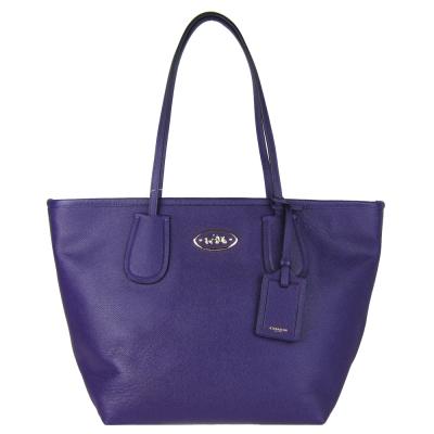 COACH馬車防刮皮革肩背托特包(紫)